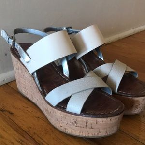 Sam Edelman cork and leather wedges